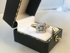 LOVELY 18ct Yellow Gold and Platinum Art Deco Diamond Ring SIZE N