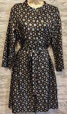 Vintage Max Mara 100% Silk Belted Geometric Button Down No Collar Shirt Dress 10