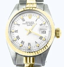Rolex Date Lady 2Tone 14K Yellow Gold Steel Watch Jubilee Band White Roman 6917