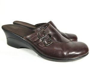 Clarks Brown Leather Slides Mules Wedge Heel Buckle Clogs Comfort Shoes 10 M