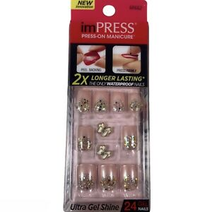 NEW Kiss Nails Impress Press Manicure Short Gel Pearlescent Pink Silver White