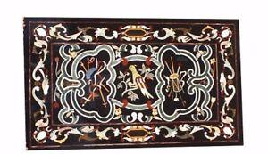 "48"" x 32"" Marble Inlay Handmade Center Table Top Semi Precious Stones Work"