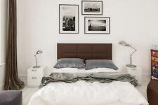 Hogar24 - Conjunto cabecero tapizado Chocolate + 2 mesitas de Noche Color Blanco