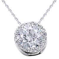 14K White Gold .59Ct Genuine Diamond Round Brilliant Cut Pave Halo Pendant -IGI-
