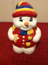 Marketplace Festive Frosty Snowman Christmas Holiday Ceramic Painted Cookie Jar