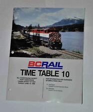 British Columbia Railway Timetable 10, June 14, 1998