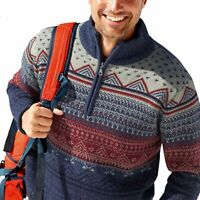 Mens Jacquard Sweater Knitted Funnel Neck Half Zip Pullover