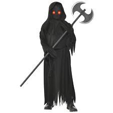 Childs Light Up Eyes Grim Reaper Fancy Dress Halloween Costume Kids Outfit Boys