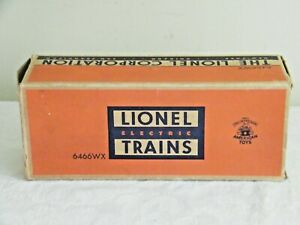"""Lionel Trains Postwar 6466WX Whistle Tender for """" O27 """" Track ~ Empty Box Only"""