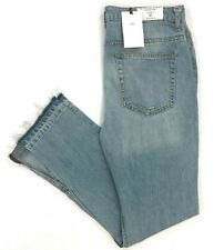 NWT Zara The High Rise Straight Opened Hem Jeans in Nice Blue Light Wash Size 10