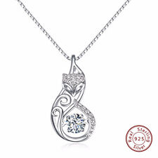 925 Sterling Silver Fox Necklaces Flicker Cubic Zirconia Romantic Gift for Women