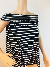 NWT Max Studio/Nordstrom Off the Shoulder Black & White Stripe Top $68