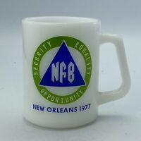 Vintage Federal Milk Glass New Orleans  NFB  Logo Coffee Mug 1977 D Handle Cup