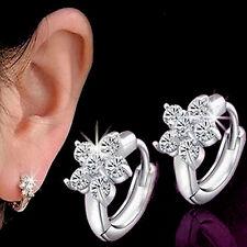 925 Sterling Silver Pltd Cubic Zirconia CZ Flower Hoop Huggie Earrings UK 220