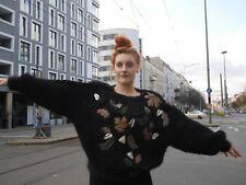 Pullover M OVERSIZE Luxus Metall Details 80er schwarz TRUE VINTAGE Glam sweater