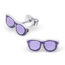 Sun Glasses Sterling Silver Stud Earrings