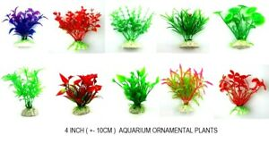 "Artificial Green Plastic Plant Aquarium Fish Tank Grass Decoration 4"" - UK STOCK"