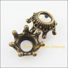10 New Connectors Crown Flower Antiqued Bronze Tone End Bead Caps 13mm