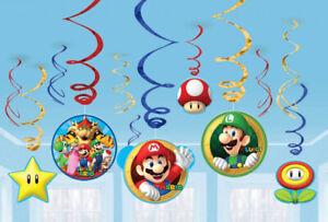 Super Mario Party Hanging Swirl Decorations 12pk - Super Mario Party Supplies