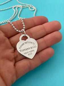 """Tiffany & Co Sterling Silver LARGE Heart & Beaded Chain Necklace 34"""" RRP $590"""