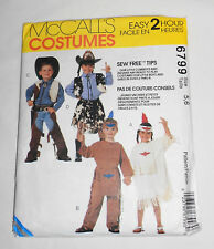 McCall's  Pattern 6799 Cowboy Indian Costumes Boy/Girl Size 5-6
