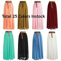 Size 2XL Women Lady Chiffon Pleated Retro Long Maxi Dress Elastic Waist Skirt