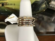 NWT Cindy Crowford Gold Over Sterling Silver 5 Stack Diamond Rings SZ 7