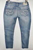 Silver Boyfriend Crop Capri Stretch Jeans Womens Size 28x25 Blue Meas. 29x27.5