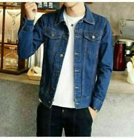 Stylish Men's Autumn Slim Denim Jackets Coat Boys Washed Retro Jean Jacket Coats