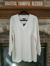Chaps by Ralph Lauren Women's Sz. 1X Cream Cable Knit V-Neck Sweater NWT