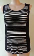 NEW Brown Sugar top black white striped sleeveless stretch size 14 NWT
