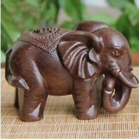 Wooded Animal Hand Craft Lucky Elephant Carved Statue Home Office Room Decor Jia