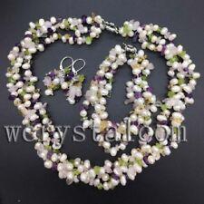 White Pearls Peridot Citrine Amethyst Rose Quartz Earrings Bracelet Necklace Set