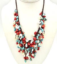 Southwestern Bib Necklace Waterfall Turquoise Red Coral MOP Artisan Handmade Vtg