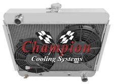 "1966-1967 Chevy Nova V8 conversion 2 Row Advanced Champion Radiator w 2 10"" Fans"