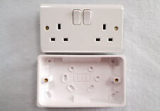 Ashley 13A White Twin Switched Socket. Polished  White Top Qual.inc surface box