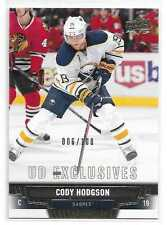 2013-14 UD Exclusives #385 CODY HODGSON Short Print SP 6/100 Buffalo Sabres