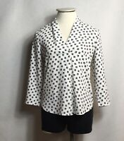 Ann Taylor Womens Blouse Top Size Small  3/4 Sleeve Black White Floral Print