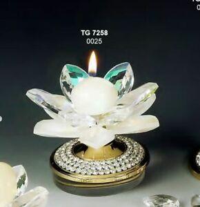 Ninfea Portacandela GRANDE cristallo Swarovski e acciaiao dorato MADE IN 0OTZ