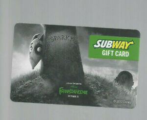 SUBWAY FRANKENWEENIE COLLECTABLE GIFT CARD