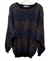 Vintage Progetto Mens L Chunky Knit Pullover Grandpa Retro Sweater Made in Italy