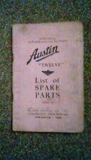 Austin Twelve . Fully illustrated List of Spare Parts