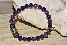 Amethyst Quartz Lava Stone Bracelet Natural Crystal Healing Unisex Stainless Ste