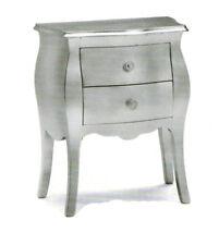 Comodino bombato argentato classico colore foglia argento mobile camera da letto
