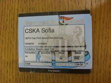 30/09/1999 Ticket: Newcastle United v CSKA Sofia [UEFA Cup] (folded). Trusted se
