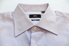 HUGO BOSS  Men PURPLE & WHITE PINSTRIPED COTTON LS DRESS SHIRT NWT 16 34/35 $145