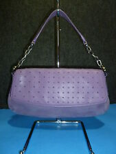 ANN TAYLOR Purple Suede w/Chain Strap Baguette / Shoulder Bag Purse NEW