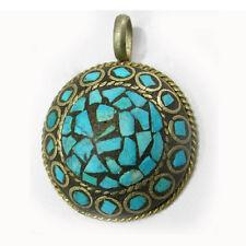 Turquoise Gemstone Inlays Amulet Pendant Vintage Big Thick Tibetan Copper Brass