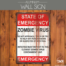 Warning Zombie Virus Funny Halloween Man Cave Metal Wall Art Sign Plaque Gift