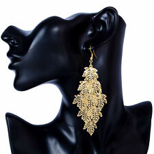 18K Gold Plated Maple Leaf Tassel Fashion Chic Dangle Hook Earrings 1 pair